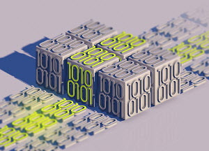 Blocks of bright binary code data standing out from grey rows