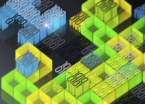 Blocks of brightly coloured binary code data