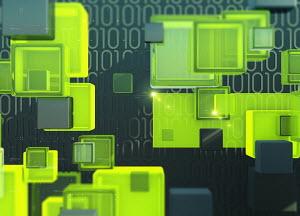 Brightly coloured blocks and binary code data