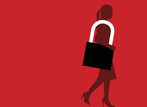 Businesswoman carrying padlock purse