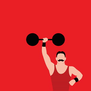 Strong man with mustache holding barbell above head
