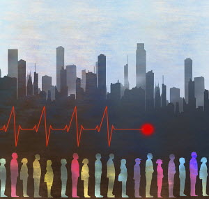 Pulse trace over people in the city
