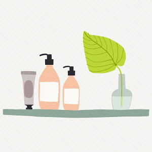 Toiletries on bathroom shelf