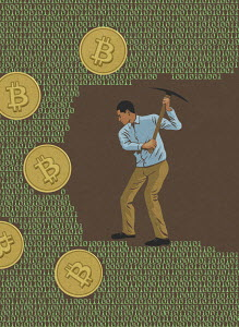 Man mining for bitcoins in computer code