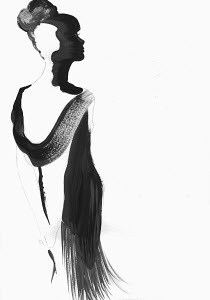 Fashion illustration of beautiful woman wearing elegant black dress