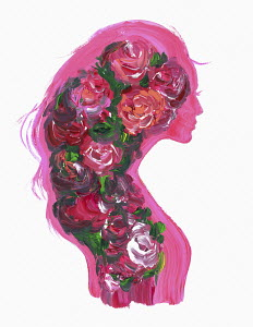 Woman's profile covered in floral pattern