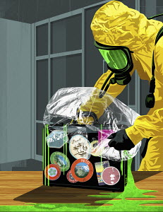 Man wearing protection suit to remove biohazard spilling from travel briefcase