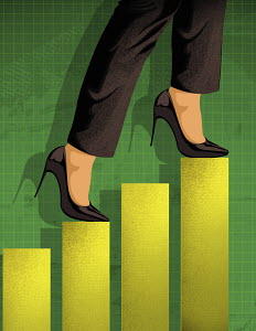 Businesswoman ascending bar chart staircase