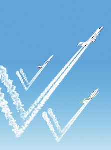 Three aeroplanes with tick mark vapour trails