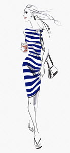 Beautiful woman in striped dress with takeaway coffee