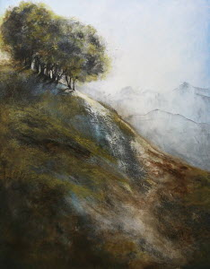 Painting of copse of trees on remote hillside