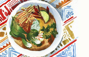 Plate of Thai curry soup on patterned tablecloth