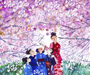 Teacher showing children Japanese cherry blossom