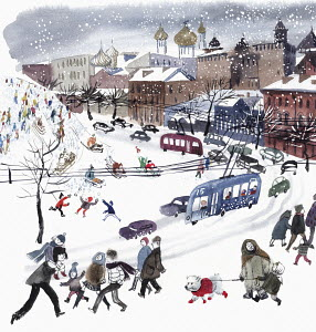 Snowy city street scene and people tobogganing