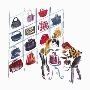 Two women admiring handbags