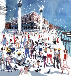 Crowds of tourists in St Mark's Square Venice