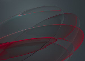 Abstract red curve pattern on grey background