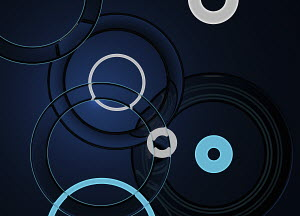 Dark abstract pattern of overlapping circles