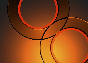 Bright orange abstract overlapping circles