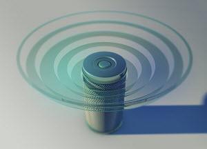 Smart speaker emitting sound waves