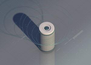 Smart speaker emitting sound waves on computer programming grid