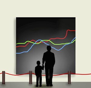 Father and son looking at painting of line graphs in art gallery