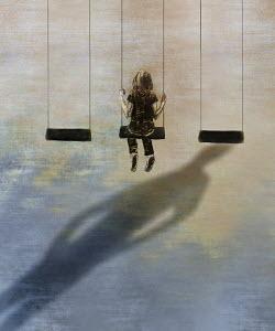 Ominous shadow behind girl on swing