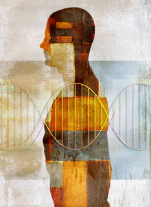 Double helix over patchwork pattern man