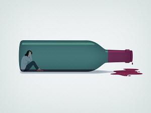 Woman trapped inside of wine bottle