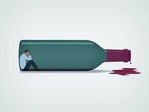 Man trapped inside of wine bottle