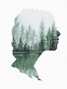 Moody landscape inside of woman's head