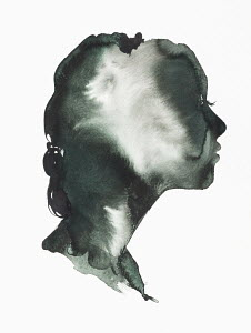 Moody watercolour painting of woman's profile
