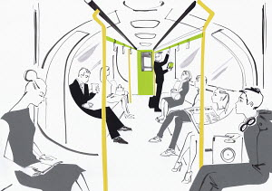 People commuting to work on London underground