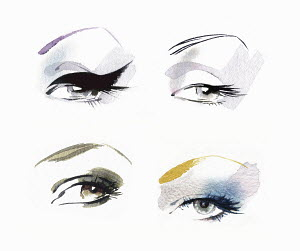 Close up of eyes wearing different eye makeup