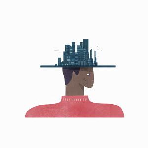 Man wearing cityscape hat