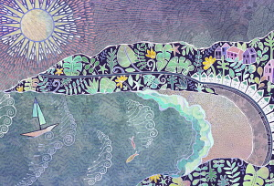 Seaside town on floral pattern cove