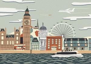 Illustration of Big Ben and London landmarks