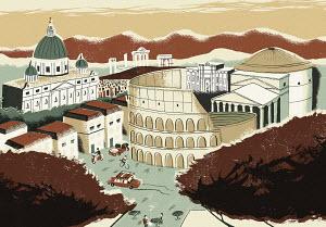 Illustration of Coliseum and Rome landmarks
