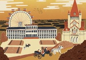 Illustration of Schonbrunn Palace and Vienna landmarks