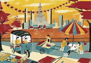 Illustration of city life by Chao Phraya River in Bangkok