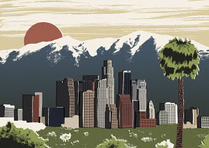 Illustration of Los Angeles cityscape against mountain peaks
