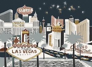 Illustration of Las Vegas street scene at night