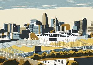 Illustration of Cincinnati cityscape