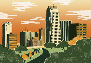 Illustration of cityscape of Raleigh, North Carolina