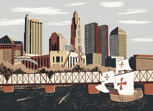 Illustration of replica sailing boat and Columbus cityscape