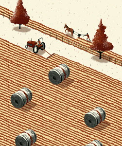 Contrast in profit between farmer using horsedrawn plough and farmer using tractor