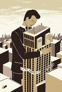 Businessman hugging his own company building