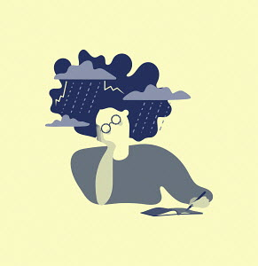 Woman with storm around head