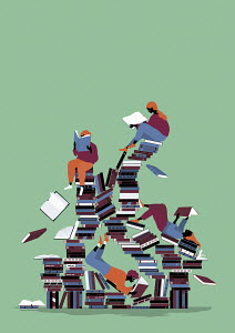 Children enjoying reading on chaotic pile of books