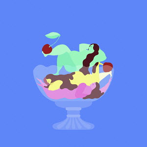 Curvaceous women forming bowl of ice cream